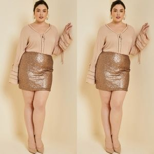 Dresses & Skirts - Rosegold sequin mini skirt Gorgeous! 1x - 3x PLUS